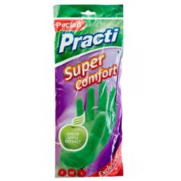 """Paclan перчатки резиновые """"Practi. Super Comfort"""" с ароматом зеленого яблока, зеленые"""