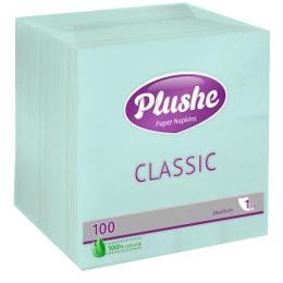 "Plushe салфетки ""Classic"" голубые, 24 х 24 см, 1 слой, 100 шт"