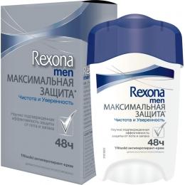 """Rexona антиперспирант для мужчин """"Максимальная защита Чистота и уверенность"""" крем, 45 мл"""
