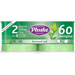 """Plushe туалетная бумага """"Deluxe Plus. Зеленый чай"""" 3 слоя"""