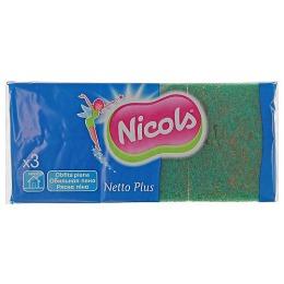 Nicols губка кухонная, тон зеленая, 3 шт