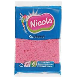 Nicols губка кухонная целлюлозная, 3 шт
