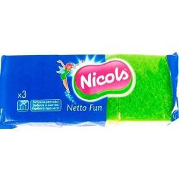 Nicols губка кухонная профилированная, 3 шт