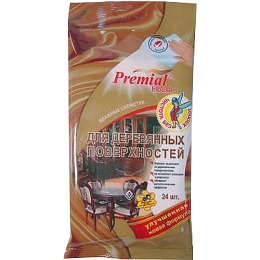 Premial салфетки влажные для деревянных поверхностей, 24 шт