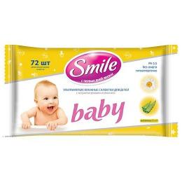 Smile салфетки влажные с экстрактом ромашки, соком алоэ, 72 шт