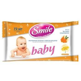 Smile салфетки влажные с экстрактом календулы, соком облепихи, 72 шт
