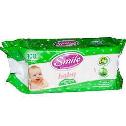 Smile салфетки влажные с соком подорожника с экстрактом череды, 100 шт