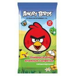 Angry Birds салфетки влажные универсальные, 20 шт