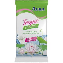 """Aura влажные салфетки """"Tropic Cocktail"""" освежающие, 20 шт"""