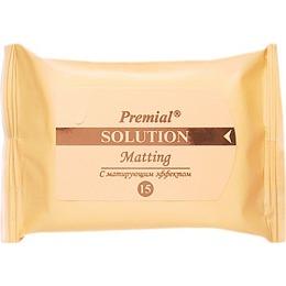 Premial салфетки влажные косметические с матирующим эффектом, 15 шт