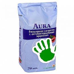 Aura салфетки влажные антибактериальные, 72 шт