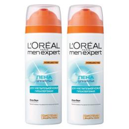 """L'Oreal пена для бритья """"Men Expert"""" для чувствительной кожи, 2 x 200 мл"""