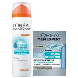 """L'Oreal набор гель для бритья """"Men Expert"""" для чувствительной кожи, 200 мл + Лосьон после бритья """"Men Expert. Гидра Сенситив, Мгновенный комфорт"""" для чувствительной кожи, 100 мл"""