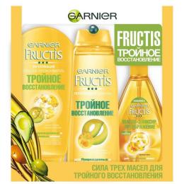 """Garnier набор шампунь """"Fructis. Тройное восстановление"""" укрепляющий, для поврежденных и ослабленных волос, 250 мл + бальзам-ополаскиватель """"Fructis. Тройное восстановление"""", укрепляющий, 200 мл +  масло-эликсир для волос """"Fructis. Преображение"""" для всех типов волос, 150 мл"""