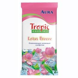 """Aura влажные освежающие салфетки """"Tropic Cocktail 4 аромата"""", 10 шт"""