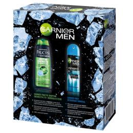 """Garnier набор  дезодорант-спрей """"Mineral. Ледяной экстрим"""" мужской, 150 мл + шампунь и гель для душа 2 в 1 """"Fructis Men. Энергия свежести"""" 250 мл"""