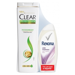 """Clear шампунь для женщин """"Phytotechnology"""" против перхоти 400 мл, гель для душа Rexona """"Приятная свежесть"""" 250 мл"""