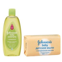 Johnson`s baby шампунь с ромашкой 300 мл + мыло детское с миндальным маслом 100 г