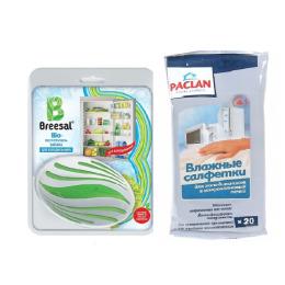 """Breesal био-поглотитель запаха для холодильника 80 г, влажные салфетки """"Paclan"""" для холодильников и микроволновых печей 20 шт"""