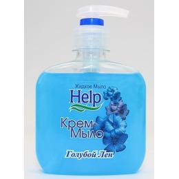 """Help крем-мыло """"Голубой лён"""" с дозатором"""