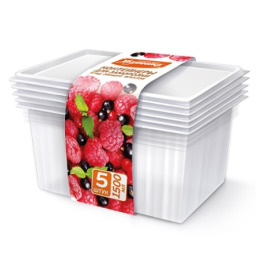 Хозяюшка Мила контейнеры для заморозки ягод, овощей, фруктов 1,5 л, 5 шт