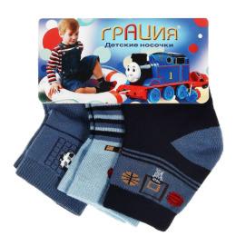 Грация носки детские Д 2408, 3 пары, синие