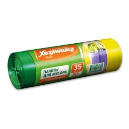 Хозяюшка Мила пакеты для мусора 35 л с завязками в рулоне, 20 шт