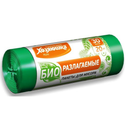 Хозяюшка Мила пакеты для мусора 30 л биоразлагаемые в рулоне, 20 шт