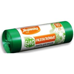 Хозяюшка Мила пакеты для мусора 60 л биоразлагаемые в рулоне, 15 шт