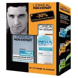 """L'Oreal набор """"Men expert"""" пена для бритья, 200 мл + бальзам после бритья, 100 мл"""