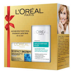 """L'Oreal набор крем для лица """"Увлажнение Эксперт"""" для нормальной и смешанной кожи, 50 мл + мицеллярный лосьон для снятия макияжа для нормальной и смешанной кожи, 200 мл"""