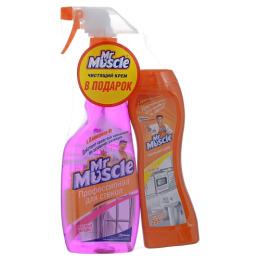 """Мистер Мускул чистящее и моющее средство для стекол триггер 500 мл + чистящий крем """"Лимон"""" 255 г"""