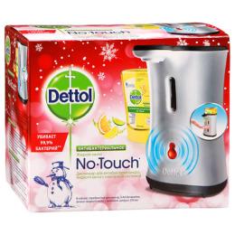 """Dettol диспенсер серебристый для антибактериального жидкого мыла """"No Touch. Зимняя коллекция"""" для рук в комплекте с жидким мылом с ароматом цитруса с сенс системой"""