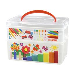 Бытпласт контейнер для продуктов  с ручкой и декором 2 секции