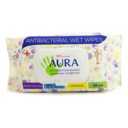 Aura влажные салфетки антибактериальные стикер рука с крышкой