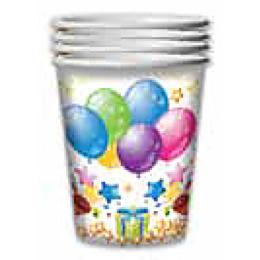 """Феерика стаканы бумажные """"Воздушные шары. С Днём Рождения"""""""