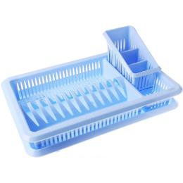 """Пластик центр сушилка для посуды """"Лилия голубая. Пастельная"""" с поддоном 1-ярусная  с сушилкой для столовых приборов"""
