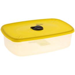 """Пластик центр емкость для СВЧ """"Лимон"""" прямоугольная с паровыпускным клапаном"""