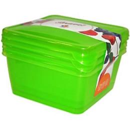 """Giaretti комплект емкостей для продуктов """"Браво. Зеленый"""" квадратных прозрачный"""