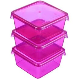 """Giaretti комплект емкостей для продуктов """"Браво. Малиновый"""" квадратных прозрачный"""