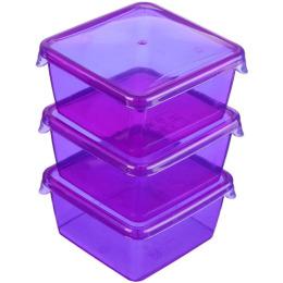 """Giaretti комплект емкостей для продуктов """"Браво. Фиолетовый"""" квадратных прозрачный"""