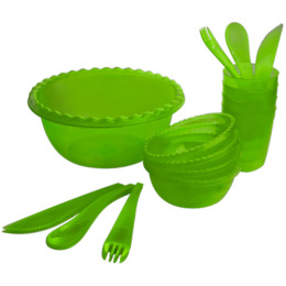 """Пластик центр набор для пикника """"Фазенда. Зеленый"""" на 4 персоны прозрачный"""