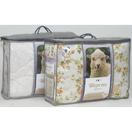 """Мягкий сон одеяло """"Стандартное. Кудрина"""" шерсть овечья 200 х 220 см бязь в пакете вакуум"""