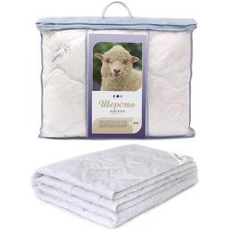 """Мягкий сон одеяло """"Стеганое. Зимнее. Белое на белом"""" шерсть овечья 140 х 205 см хлопок в чемодане"""