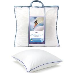 """Мягкий сон подушка """"Лебяжий пух"""" 70 х 70 см микроволокно микрофибра кант атласный в чемодане пвх белый"""