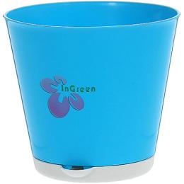 """InGreen горшок для цветов """"Ingreen. Крит. Светло-синий"""" d=120 mm с системой прикорневого полива"""