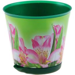 """Пластик центр горшок для цветов """"Ingreen. Крит. Темно-зеленый. Лилия"""" d=200 mm с системой прикорневого полива"""