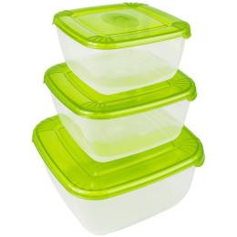 """Plast Team набор емкостей для хранения пищевых продуктов """"Polar. Лаймовый"""" квадратных"""
