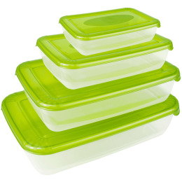 """Plast Team набор емкостей для хранения пищевых продуктов """"Polar. Лаймовый"""" прямоугольных"""