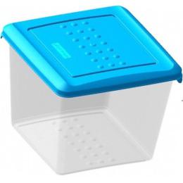 """Plast Team емкость для хранения продуктов """"Pattern. Голубой"""" квадратная прозрачный"""